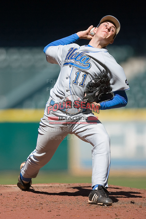 Relief pitcher Trevor Bauer #11 of the UCLA Bruins in action versus the UC-Irvine Anteaters in the 2009 Houston College Classic at Minute Maid Park March 1, 2009 in Houston, TX.  The Anteaters defeated the Bruins 7-4. (Photo by Brian Westerholt / Four Seam Images)