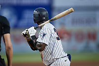 Michael Beltre (34) of the Somerset Patriots at bat during the game against the Altoona Curve at TD Bank Ballpark on July 24, 2021, in Somerset NJ. (Brian Westerholt/Four Seam Images)