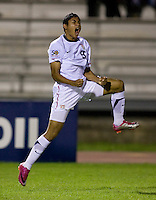 Mario Rodriguez (9) of the United States reacts to a missed shot during the finals of the CONCACAF Men's Under 17 Championship at Catherine Hall Stadium in Montego Bay, Jamaica. The United States defeated Canada, 3-0, in overtime