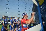Red Jersey holder Elia Viviani (ITA) Quick-Step Floors at sign on before the start of Stage 3 The Silicon Oasis Stage of the Dubai Tour 2018 the Dubai Tour's 5th edition, running 180km from Skydive Dubai to Fujairah, Dubai, United Arab Emirates. 7th February 2018.<br /> Picture: LaPresse/Massimo Paolone   Cyclefile<br /> <br /> <br /> All photos usage must carry mandatory copyright credit (© Cyclefile   LaPresse/Massimo Paolone)