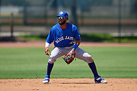 Toronto Blue Jays shortstop Hugo Cardona (26) waits for a throw during an Extended Spring Training game against the Philadelphia Phillies on June 12, 2021 at the Carpenter Complex in Clearwater, Florida. (Mike Janes/Four Seam Images)
