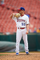 Buffalo Bisons pitcher Rob Rasmussen (59) looks in for the sign during a game against the Columbus Clippers on July 19, 2015 at Coca-Cola Field in Buffalo, New York.  Buffalo defeated Columbus 4-3 in twelve innings.  (Mike Janes/Four Seam Images)