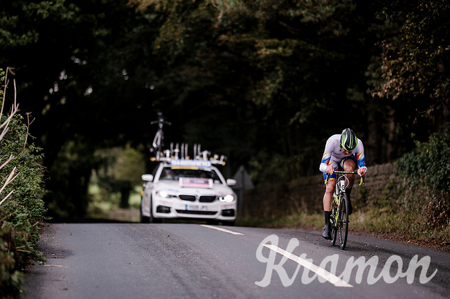 Dirk Coetzee (NAM) on his spare road bike <br /> Elite Men Individual Time Trial<br /> from Northhallerton to Harrogate (54km)<br /> <br /> 2019 Road World Championships Yorkshire (GBR)<br /> <br /> ©kramon