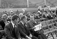 Fondation du Parti quebecois, en presence de Doris Lussier<br /> , Rene Levesque et Gilles Gregoire,  le 14 octobre 1968 au Petit Colisee de Quebec<br /> <br /> Photographe : Photo Moderne<br /> - agence Quebec Presse