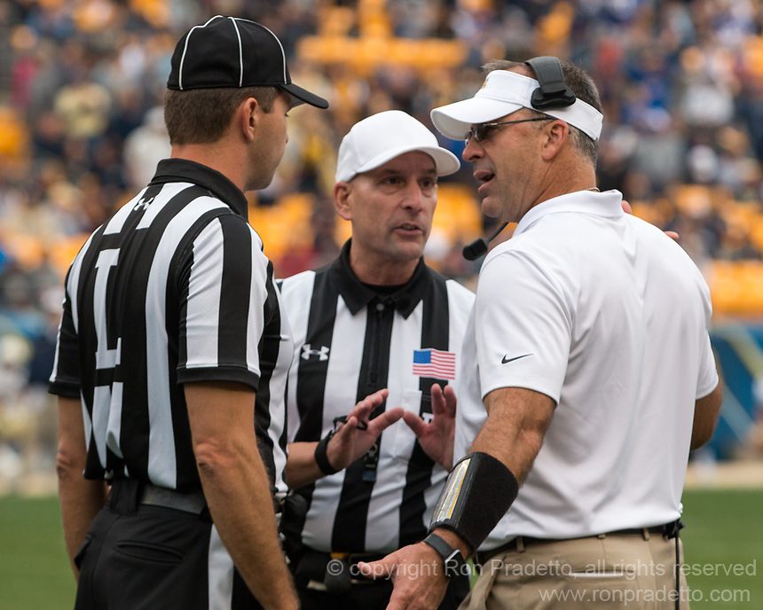 Pitt head coach Pat Narduzzi. The Pitt Panthers defeated the Georgia Tech Yellow Jackets 37-34 at Heinz Field in Pittsburgh, Pennsylvania on October 08, 2016.
