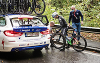 fresh 2020 World Champion Julian Alaphilippe (FRA/Deceuninck-QuickStep) is'nt spared from flats in his very first race in the Rainbow Jersey<br /> <br /> 106th Liège-Bastogne-Liège 2020 (1.UWT)<br /> 1 day race from Liège to Liège (257km)<br /> <br /> ©kramon