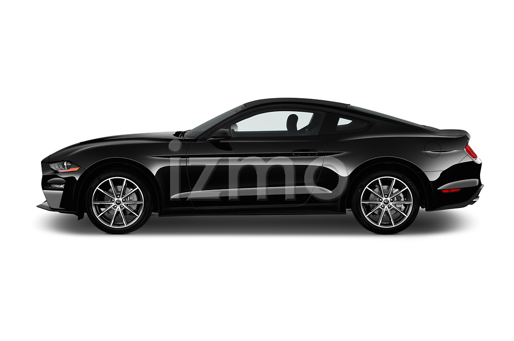 Car driver side profile view of a 2018 Ford Mustang EcoBoost 2 Door Coupe