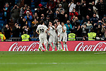 Real Madrid's players celebrate goal during Copa Del Rey match between Real Madrid and CD Leganes at Santiago Bernabeu Stadium in Madrid, Spain. January 09, 2019. (ALTERPHOTOS/A. Perez Meca)<br />  (ALTERPHOTOS/A. Perez Meca)