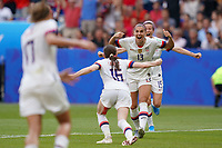 LYON, FRANCE - JULY 07: Rose Lavelle #16, Alex Morgan #13 during the 2019 FIFA Women's World Cup France final match between the Netherlands and the United States at Stade de Lyon on July 07, 2019 in Lyon, France.