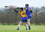 Niall Gilligan of  Sixmilebridge  in action against James Mc Inerney of Newmarket during their Clare Champion Cup final at Clonlara. Photograph by John Kelly.