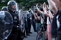 Protestors gather outside the White House in Washington, D.C., U.S., on Monday, June 1, 2020, following the death of an unarmed black man at the hands of Minnesota police on May 25, 2020.  More than 200 active duty military police were deployed to Washington D.C. following three days of protests.  Credit: Stefani Reynolds / CNP/AdMedia