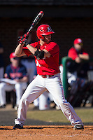 Nick Nunziato (12) of the Belmont Abbey Crusaders at bat against the Shippensburg Raiders at Abbey Yard on February 8, 2015 in Belmont, North Carolina.  The Raiders defeated the Crusaders 14-0.  (Brian Westerholt/Four Seam Images)