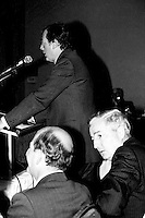 April 25 1988 File Photo - <br /> Egdar Bronfman (Senior) ,Canadian born billionaire and longtime World Jewish Congress president speak at the Canadian Club of Montreal tribune.