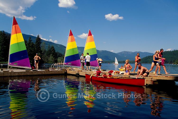 Whistler, BC, British Columbia, Canada - Sailboats and Canoe docked in Alta Lake, Summer Recreational Activities