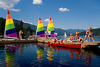 Whistler, BC, British Columbia, Canada - Sailboats and Canoe docked in Alta Lake, Summer Recreational Activities