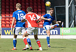 St Johnstone v Fleetwood Town…24.07.21  McDiarmid Park<br />Jamie McCart clears from Jordan Rossiter<br />Picture by Graeme Hart.<br />Copyright Perthshire Picture Agency<br />Tel: 01738 623350  Mobile: 07990 594431