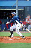 GCL Rays shortstop Luis Leon (1) hits a foul ball during the first game of a doubleheader against the GCL Twins on July 18, 2017 at Charlotte Sports Park in Port Charlotte, Florida.  GCL Twins defeated the GCL Rays 11-5 in a continuation of a game that was suspended on July 17th at CenturyLink Sports Complex in Fort Myers, Florida due to inclement weather.  (Mike Janes/Four Seam Images)