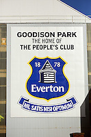 Pictured: Exterior view of Goodison Park. Sunday 16 February 2014<br /> Re: FA Cup, Everton v Swansea City FC at Goodison Park, Liverpool, UK.