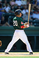 Shortstop Carlos Asuaje (20) of the Greenville Drive bats in a game against the Savannah Sand Gnats on Sunday, June 22, 2014, at Fluor Field at the West End in Greenville, South Carolina. Greenville won, 7-3. (Tom Priddy/Four Seam Images)
