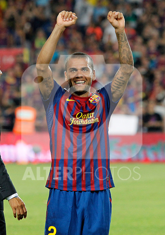 FC Barcelona's Daniel Alves celebrate the victory during Spanish Supercup 2nd match.August 17,2011. (ALTERPHOTOS/Acero)