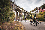 The 21 man breakaway group during Stage 12 of the Vuelta Espana 2020 running 109.4km from Pola de Laviana to Alto de l'Angliru, Spain. 1st November 2020. <br /> Picture: Unipublic/Charly Lopez | Cyclefile<br /> <br /> All photos usage must carry mandatory copyright credit (© Cyclefile | Unipublic/Charly Lopez)