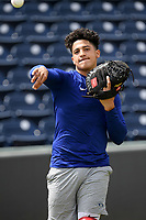 Dodgers minor leaguer Diego Cartaya works out with other pro and amateur players from the region on Friday, June 5, 2020, at Fluor Field at the West End in Greenville, South Carolina, as team workouts remain shut down. Cartaya is MLB's No. 9 Dodgers prospect and top breakout Dodgers player for 2020. The 18-year-old was MLB Pipeline's top-rated international amateur in the 2018 class. (Tom Priddy/Four Seam Images)