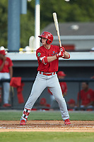 Nolan Gorman (4) of the Johnson City Cardinals at bat against the Burlington Royals at Burlington Athletic Stadium on July 15, 2018 in Burlington, North Carolina. The Cardinals defeated the Royals 7-6.  (Brian Westerholt/Four Seam Images)