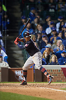 Cleveland Indians Francisco Lindor (12) bats in the seventh inning during Game 4 of the Major League Baseball World Series against the Chicago Cubs on October 29, 2016 at Wrigley Field in Chicago, Illinois.  (Mike Janes/Four Seam Images)