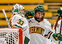 30 November 2018: University of Vermont Catamount Forward Allie Granato, a Junior from Plainfield, IL, gives goaltender Melissa Black a good luck tap prior to a game against the University of Maine Black Bears at Gutterson Fieldhouse in Burlington, Vermont. The Lady Cats were edged out by the Bears 2-1 in the first game of their 2-game Hockey East series. Mandatory Credit: Ed Wolfstein Photo *** RAW (NEF) Image File Available ***