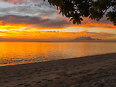 Flic en Flac, Mauritius. La Pirogue tourist resort. Golden sunset.