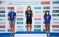 ( L to R, silver, gold, bronze)  PIANO DEL BALZO Roberta, CUSINATO Ilaria, PIROVANO Anna<br /> 200 Butterfly Women Podium<br /> Roma 13/08/2020 Foro Italico <br /> FIN 57 LVII Trofeo Sette Colli - Campionati Assoluti 2020 Internazionali d'Italia<br /> Photo Giorgio Scala/DBM/Insidefoto