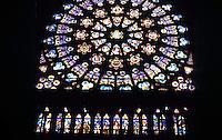 Paris: Abbey (Basilica) of Saint-Denis--rose window in South Transept. Photo '90.