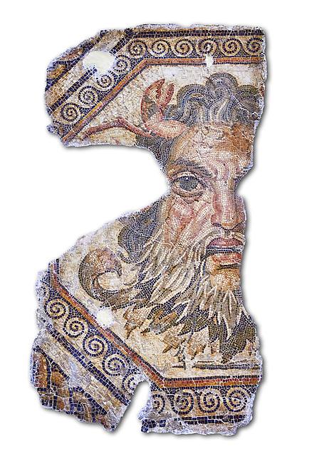 2nd century AD Roman mosaic depictiong Neptune. From Augusti (Sidi El Heni), Tunisia.  The Bardo Museum, Tunis, Tunisia. White Background.