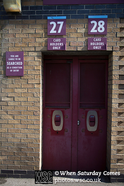 West Ham United 2 Crystal Palace 2, 02/04/2016. Boleyn Ground, Premier League. A turnstile entrance to the Betway Stand at the Boleyn Ground, pictured before West Ham United hosted Crystal Palace in a Barclays Premier League match. The Boleyn Ground at Upton Park was the club's home ground from 1904 until the end of the 2015-16 season when they moved into the Olympic Stadium, built for the 2012 London games, at nearby Stratford. The match ended in a 2-2 draw, watched by a near-capacity crowd of 34,857. Photo by Colin McPherson.