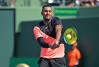 KEY BISCAYNE, FL - MARCH 27: Nick Kyrgios during Day 9 at the Miami Open Presented by Itau at Crandon Park Tennis Center on March 27, 2018 in Key Biscayne, Florida. <br /> <br /> <br /> People:  Nick Kyrgios
