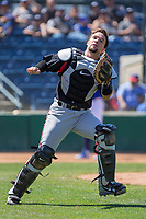 Lake Elsinore Storm catcher Luis Torrens (12) in action against the Rancho Cucamonga Quakes at LoanMart Field on April 22, 2018 in Rancho Cucamonga, California. The Storm defeated the Quakes 8-6.  (Donn Parris/Four Seam Images)