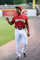 Josh Johnson #15 of the Harrisburg Senators plays in a game against the Akron Aeros at Metro Bank Park on June 10, 2011 in Harrisburg, Pennsylvania.   ..Photo By Bill Mitchell/Four Seam Images
