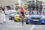 Neilson Powless (USA) EF Pro Cycling from the breakaway summits the Col de Peyresourde during Stage 8 of Tour de France 2020, running 141km from Cazeres-sur-Garonne to Loudenvielle, France. 5th September 2020. <br /> Picture: Colin Flockton | Cyclefile<br /> All photos usage must carry mandatory copyright credit (© Cyclefile | Colin Flockton)