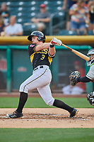 Riley Unroe (3) of the Salt Lake Bees bats against the El Paso Chihuahuas at Smith's Ballpark on August 14, 2018 in Salt Lake City, Utah. El Paso defeated Salt Lake 6-3. (Stephen Smith/Four Seam Images)