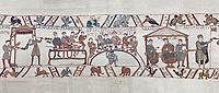 Bayeux Tapestry scene 43 - 44:  Duke William, his barons and Bishop Odo hold a banquet to celebrate their safe arrival in England. BYX43 BYX44