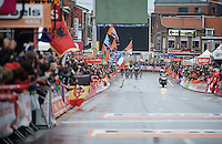 an elite group of 10 riders survived the last climb of the day and just turned into the finishing straight<br /> <br /> 101th Liège-Bastogne-Liège 2015