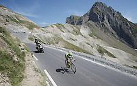 race leader Rafal Majka (POL/Tinkoff-Saxo) solo descending the Col du Tourmalet (HC/2115m/17km/7.3%)<br /> <br /> st11: Pau - Cauterets (188km)<br /> 2015 Tour de France