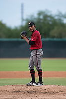 AZL Diamondbacks starting pitcher Luis Frias (13) prepares to deliver a pitch during an Arizona League game against the AZL White Sox at Camelback Ranch on July 12, 2018 in Glendale, Arizona. The AZL Diamondbacks defeated the AZL White Sox 5-1. (Zachary Lucy/Four Seam Images)