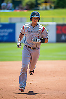 Dustin Garneau (13) of the Albuquerque Isotopes rounds the bases after hitting a home run against the Salt Lake Bees in Pacific Coast League action at Smith's Ballpark on June 28, 2015 in Salt Lake City, Utah.The Isotopes defeated the Bees 8-3. (Stephen Smith/Four Seam Images)