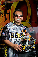 Oct. 31, 2008; Las Vegas, NV, USA: NHRA funny car driver Tony Pedregon poses for a portrait prior to qualifying for the Las Vegas Nationals at The Strip in Las Vegas. Mandatory Credit: Mark J. Rebilas-