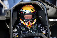Mar. 15, 2013; Gainesville, FL, USA; NHRA funny car driver Jeff Arend during qualifying for the Gatornationals at Auto-Plus Raceway at Gainesville. Mandatory Credit: Mark J. Rebilas-