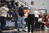 Former Pea Ridge basketball coach Trent Loyd is honored, Friday, January 8, 2021 during a basketball game at Pea Ridge High School in Pea Ridge. Check out nwaonline.com/210108Daily/ for today's photo gallery. <br /> (NWA Democrat-Gazette/Charlie Kaijo)
