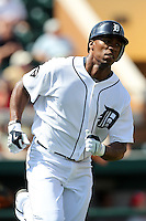 Detroit Tigers Austin Jackson #14 during a exhibition game vs. the Florida Southern Mocs at Joker Marchant Stadium in Lakeland, Florida;  February 25, 2011.  Detroit defeated Florida Southern 17-5.  Photo By Mike Janes/Four Seam Images
