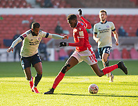 9th January 2021; City Ground, Nottinghamshire, Midlands, England; English FA Cup Football, Nottingham Forest versus Cardiff City; Sammy Ameobi of Nottingham Forest stops with the ball at his feet in front of Leandro Bacuna of Cardiff City