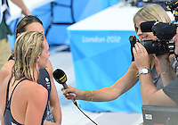 August 01, 2012..Francesca Halsall and Amy Smith being interviewed by BBC as the exit the pool after competing in Women's 100m Freestyle Semifinal at the Aquatics Center on day five of 2012 Olympic Games in London, United Kingdom.